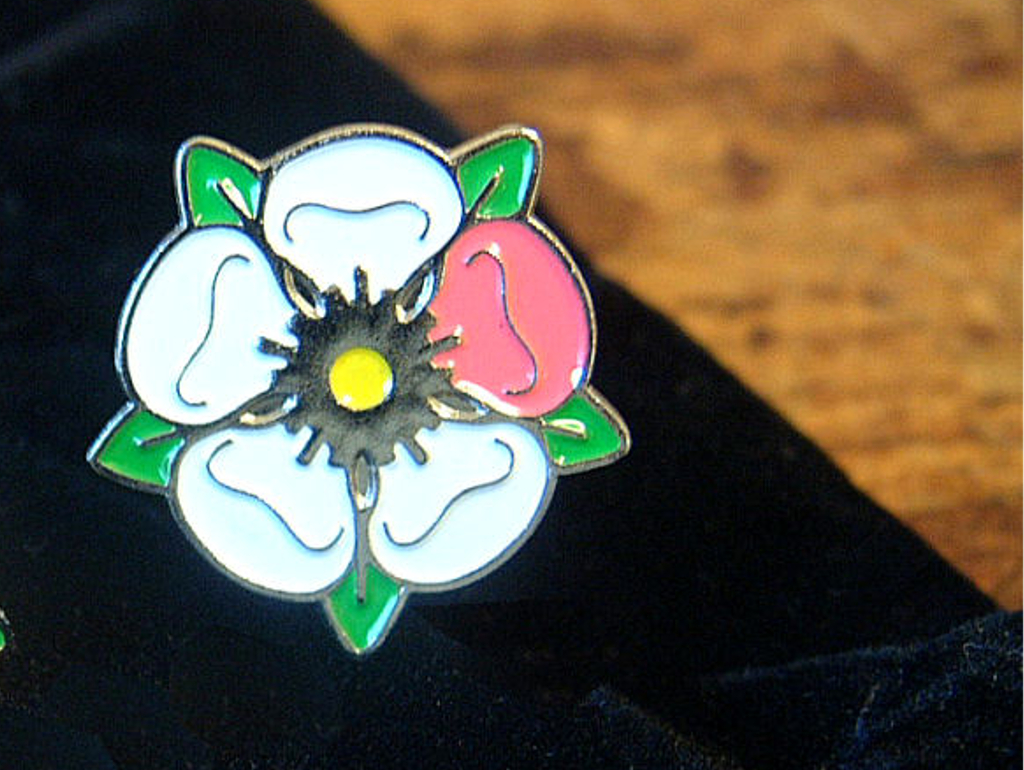 Breast Cancer Research Yorkshire Rose lapel pin badge