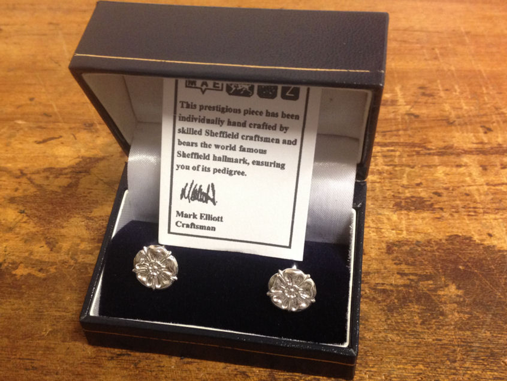 Hallmarked sterling silver Yorkshire Rose cuff links